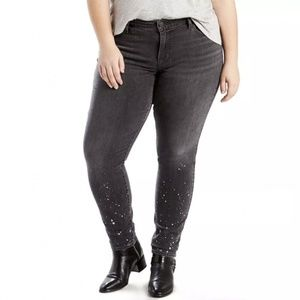 New Levis Womans 711 Black Skinny Jeans Bleach Spl